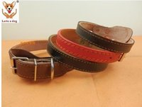 Wholesale Types Leather Harness - Newly design brown black leather dog collar Small dogs medium-sized classic flat type pet dog collar free shipping