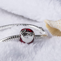 Wholesale Enamel Christmas - 925 Sterling Silver European Charms Jolly Father Christmas Red Enamel Charm Compatible With Snake Chain Bracelet Female DIY Jewelry