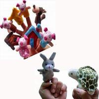 "Wholesale Tortoise Hand Puppet - World Fairy Tale Finger Puppet ""The Tortoise and The Hare"" and ""The Three Little Pigs"" Set,Plush Toys Talking Props For Kids"