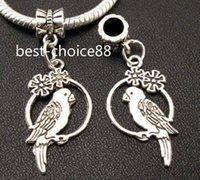 Wholesale Tibetan Silver Bird Beads - 100PCS Tibetan Silver bird Charms Pendant Dangle Beads Fit European Bracelet 38mm