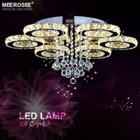 Wholesale Top Ring Lights - Modern LED Crystal Ceiling Light Ring Mounted Ceiling Lamp LED Clear tOP K9 Crystal Mounted Ceiling Luatre for Home Decoration