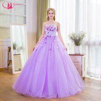 Wholesale Quinceanera Ladies Ball Gowns - Princess Design Off Shoulder Handmade Flower Quinceanera Dress Beautiful Ladies Elegant Lace Up Back Awesome Vestido De Noche