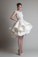 Wholesale short wedding dresses krikor for sale - Group buy 2019 New Bateau Sleeveless A Line Mini Beach Wedding Bridal Dresses Krikor Jabotian Organza Ruffles Short Wedding Dress