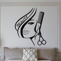 calcomanías de peluquería al por mayor-Venta al por mayor Peluquería creativa etiqueta de la pared Mural belleza salón de belleza calcomanía de pared para peluquería decorativa extraíble