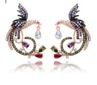frauen phoenix schmuck großhandel-Phoenix Form Multicolor CZ Diamant Ohrringe 18 Karat Rose Gold Überzogene Tropfen Ohrringe Schmuck für Frauen Schmuck TM