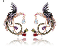 joyería de las mujeres phoenix al por mayor-Phoenix Shape Multicolor CZ Pendientes de diamantes Chapado en oro rosa de 18K Pendientes de gota Joyería para mujer Joyería TM