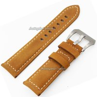 Wholesale Leather Watch Strap Italy - 22mm 24mm Men Italy Genuine Leather Watch Band Straps Bands Black Yellow Gray WatchBands Bracelet FOR PANERAI