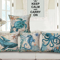 Wholesale New Life Covers - 2016 New cotton Linen cushion cover Retro Marine Life Seahorse Sea Turtle Print Home Sofa Car Decorative Pillow Case Decor Pillow Cushions
