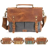 Wholesale Briefcases Lock - Ship from USA! Men's Vintage Canvas Crazy horse Leather Shoulder Bags Messenger Bag tote briefcases Casual Bags Canvas leather