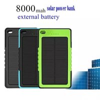 Wholesale External Battery Retail - Waterproof Solar Charger 8000mAh Solar Power Bank Portable Powerbank External Battery Chargers Backup Pack for iPhone Samsung with retail