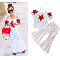 Wholesale Cute Babies Red Roses - Fashion Girls Sets Red Rose Flower Embroidered Off Shoulder Tops + Bell-bottoms 2piece Set Pricness Summer Outfits Baby Suits White A7558