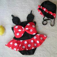 Wholesale fashion swimwear children for sale - Baby swimwear suits girls cartoon pattern big bowknot swimsuit swimming cap kids sets fashion children clothi