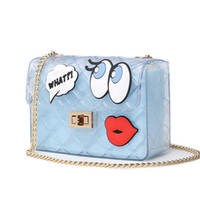 Wholesale body lip resale online - Women Cute Jelly Bag Brands Lolita Bag Candy Transparent Messenger Beach Bags Girls Clear Graffiti Red Lips Crossbody Handbags