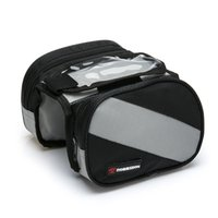 Wholesale Mtb Frame Double - Bicycle Bike Bags Top Front Frame Tube Bag MTB Road Bike Saddle Bag 4.3 Inch Touch Screen Cellphone Double Bag Bike Accessories