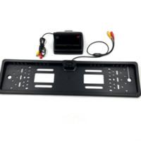 ingrosso targhetta targata lcd-Nuovo monitor LCD TFT digitale pieghevole da 4,3 pollici + Fotocamera per auto posteriore con telaio targa automobilistica europea per assistenza al parcheggio