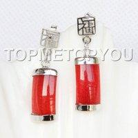 Wholesale Earrings Hoop 18kgp - 2016 new of Peking, China <<natural Dangle 9X19mm red jade Earrings 18KGP post E3927