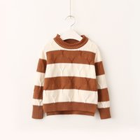 Wholesale Sweater Boys Stripes - Everweekend Girls Stripe Knitted Sweater Top Candy Color Sweet Children Blouse Vintage Korea Western Fashion Clothing