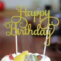 Wholesale Sticker Happy Birthdays - Glitter Happy Birthday Flag Cake Topper Decoration Party Favors Sticker Decor Banner Card Birthday Cake Accessory G1036