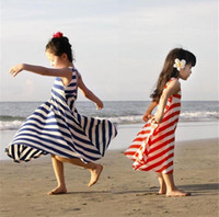 Wholesale Kids Long Tutu Skirt Ankle - Girls Summer One Piece Beach Long Dress Striped Sundress Skirts kids stripe skirt non-sleeves 2 colors 3-8y