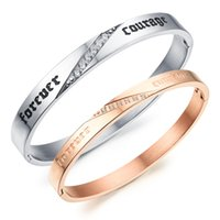Lover's Jewelry Stainless Steel Drill Pulseira CZ Rose Gold Silver Cuff Bangle Casal Jóias Moda Cool