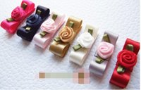 Wholesale Satin Rose Clips - HOT! 15% off! 7 colors Handmade Baby Girl Satin mini hair clip Bow Rose flower center 3 cm Baby snap clip children Hair Accessories 100pcs
