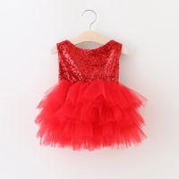 Wholesale Childrens Winter Vest - Baby Girls Red Dress Feat Christmas Lace Tutu 2016 Autumn Winter Tassels Dresses Childrens Sleeveless Kids Clothing Vest Dress