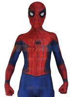 Wholesale Body Suit Costume Kids - New Civil War Spiderman Spandex Zentai Costume Civil War Spider-man Costume 3D Shade Spidey Cosplay Full Body Custom Movies Suit