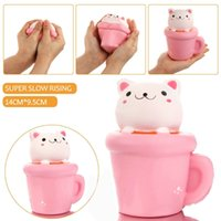 Wholesale Cute Animal Cup - Wholesale 20pcs Squishy 14CM Jumbo Kawaii Cup Cat Pussy Squeeze Cute Animal Slow Rising Scented Bread Cake Phone Straps Kid Toy Gift Doll
