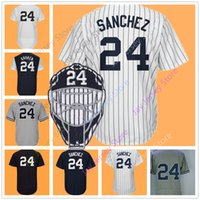 Wholesale Ivory Faces - Gary Sanchez Jersey Men Women Youth With Face Mask Patch Home Away Flexbase Cool Base Nickname Kraken White Pinstripe Grey Blue