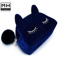 Wholesale Necessaries Makeup - Wholesale-2016 new Cute Cat Shape Cosmetic Bags Cartoon Cell Phone Bags Handbag Makeup Bag organizer bolsa feminina necessaries makeup