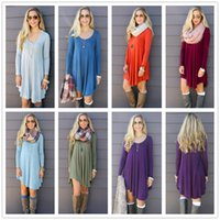 Wholesale Long Sleeved Peplum Top - Women Clothing Shirt Dresses Irregular Loose V-neck Long-sleeved Empire Waist Dresses Top Plus Tunic Boho Dresses 30 piece YYA152