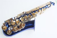 Wholesale Alto Saxophone Blue - Alto Saxophone with Body,Dark Blue Lacquer Surface,Brass Material,Eb Tone and Can be Customized