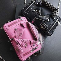 Wholesale Pink Chain Motorcycle - Women Bag Rivet Jacket Clutch Fashion Motorcycle Shoulder Handbag Chain Crossbod Bag
