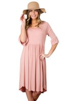 CR4YG Женщины Драпированные Midi Jersey Dresses O-Neck 3/4 Sleeve 2017 Summer Ruched Tunic Lady Party Skater Dress