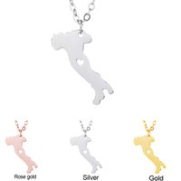 Wholesale Italy Gold Necklace - Italy Map Pendant Necklace with Love Heart Geography Geometry Necklaces Stainless Steel Rose Gold Plated Women Charm Jewelry Wholesale
