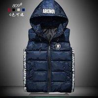 Wholesale Men Overcoats Hoods - Men Winter Waistcoat Hoodies Jacket Coat Down Vest Hood Detachable Thick Warm Outwear Overcoat Waterproof Zipper Plus Size 3xl