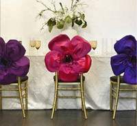 Wholesale Cheap Chair Sashes Wholesale - 2016 Taffeta Big 3D Flower Wedding Chair Sashes Romantic Chair Covers Floral Wedding Supplies Cheap Wedding Accessories 02
