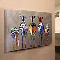 tela de óleo de zebra venda por atacado-Emoldurado Multicolor Zebras, Pure Pintado À Mão moderna Decoração Da Parede Abstrata Animal Arte Pintura A Óleo Sobre Tela de Lona de alta Qualidade, Multi tamanho ensolarado