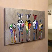 zebra yağı tuvali toptan satış-Çerçeveli Renkli Zebralar, Saf El Boyalı modern Duvar Dekoru Özet Hayvan Sanat Yağlıboya Yüksek Kalite Tuval, Çok boyutu güneşli