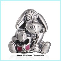 Wholesale 925 Ale Jewelry - crown Eeyore Silver Charm 925 ale sterling silver charms loose beads diy jewelry wholesale for thread bracelet DF515