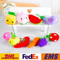 diseño de coche de niños al por mayor-Nuevos diseños de hortalizas de fruta colgante de peluche juguetes niños colgante del coche del teléfono celular bolsa de llaveros llaveros XMAS regalos 6-13cm WX-K40
