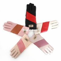 Wholesale Ladies Winter Leather Gloves - 2016 new ladies fashion color Wuzhi gloves fur leather gloves free shipping