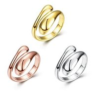 Wholesale Gold Jewellery Brands - Fashion party 18k gold ring brand jewellery silver gold plated adjustable rings for women aneis bijoux R012-A