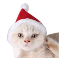 chapeaux de chien écharpes achat en gros de-Noël chien rouge chien chapeau écharpe costume chien chapeau animal de compagnie fournit chaud animal de compagnie robe de Noël G851