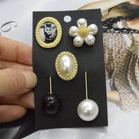 Wholesale Audrey Hepburn Bags - New Elegant Lady Audrey Hepburn Black Bead Pearl Trendy Brooch Fashion Brooches Jewelry Clothing Apparel Accessories Bag Decoration
