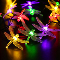 Solar powered Christmas Dragonfly LED String Lights 16ft 20 LEDs 6 cores Waterproof Fairy Lighting para árvores de natal Garden light