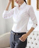 Wholesale Print Work Blouse - 2014 New fashion White Shirt Women work wear Long Sleeve Tops Slim Women's Blouses Shirts plus sie S-4XL