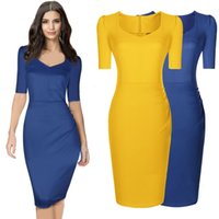Wholesale Women Dresses Work Color - The Summer New Fashion Women Work dress Yellow and Blue color V-Neck Half Sleeve Women dress size XXL Free Shipping .