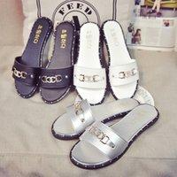 Wholesale Drag Platform Slippers - 2016 summer female wild flat stones word drag Korean version of the new platform sandals with flat sandals slippers