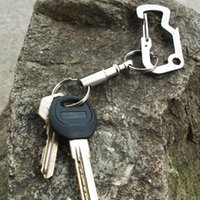 Wholesale Rings Padlock - New Arrival Outdoor Camping Tactical Backpack Key Ring Carabiner Climbing Double Key Ring Locking Hanging Padlock Keychain